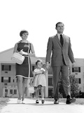1960s-1970s Family Taking a Walk Sidewalk Photographic Print