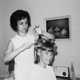 Mother Helps 16 Year Old Daughter Get Ready for Date, Ca. 1970 Photographic Print