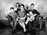 1930s-1940s Family of Five on a Couch Photographic Print