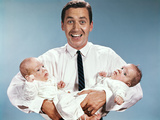 1960s Smiling Man Father Holding Twin Babies Infants Photographic Print