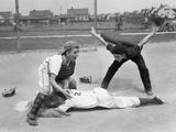 1950s Little League Umpire Calling Safe Player Sliding into Home Plate Reproduction photographique