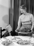 1960s Grandmother Grandson Roast Turkey Thanksgiving Dinner Photographic Print