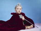 1960s Baby Dressed as Royal Queen in Red Velvet Robe Cloak Cape Rhinestone Tiara Crown and Scepter Photographic Print