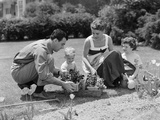 1950s Family in Garden Planting Flowers Photographic Print