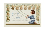 May the New Year Bells Ring in for You 365 Happy and Successful Days Postcard Giclee Print