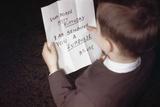 Boy Reading Birthday Message Photographic Print by William P. Gottlieb