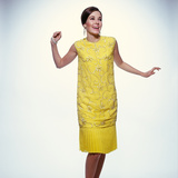 1960s Smiling Brunette Woman Modeling Yellow Sequined Cocktail Dress Clothes Photographic Print