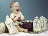 1960s Baby Crying Laughing with Pot of Coins and Bags of Money Including Bag Labeled Tax Photographic Print