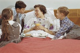 Children Serving Mother Breakfast in Bed Photographic Print by William P. Gottlieb