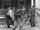 1930s Three Men Courting a Woman on a Front Porch Photographic Print