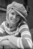 1970s Portrait Female in Floppy Wool Cap and Striped Knit Top Photographic Print