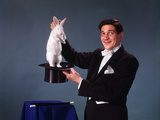 1960s-1970s Man Magician Tuxedo Pulling Rabbit Out of Top Hat Magic Illusion Sleight of Hand Trick Photographic Print