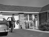 1950s Family Greeting Father in Driveway Photographic Print