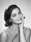 1960s Smiling Brunette Young Woman Hand to Cheek Facial Expression Gesture Photographic Print