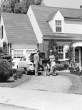1940s-1950s Family in Front of Suburban House Photographic Print