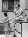 1920s Young Girl Helping Her Mother to Cook Photographic Print