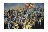 Confederate Troops Fighting African American Union Soldiers at Fort Wagner Giclee Print