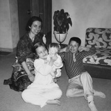 Mother with Son and Daughter in Living Room, Ca. 1960 Photographic Print