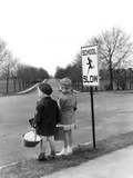 1930s-1940s Boy and Girl Waiting to Cross the Road Photographic Print