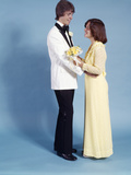 1970s Teenage Couple Boy Girl Standing Facing One Another at High School Prom Dance Photographic Print