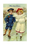 With Best Wishes Postcard of Children Ice Skating Giclee Print