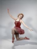 1960s Teen Girl Red Velvet Costume Pink Net Tutu Kneeling Ballet Dance Pose Bow Photographic Print