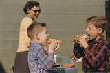 Boys Eating Hot Dogs Photographic Print by William Gottlieb