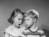 1950s Boy Girl Head to Head Angry Facial Expressions Argument Fight Photographic Print