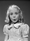 1940s-1950s Blond Girl Whistling Lips Puckered Eyes Wide Open Photographic Print