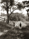1930s Boy and Girl in Straw Hats Walking Down Farm Road Photographic Print