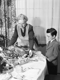1950s Grandmother Grandson Turkey Thanksgiving Dinner Photographic Print