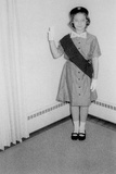 Young Girl Scout Makes Oath and Pledge, Ca. 1963 Photographic Print
