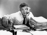 1950s Portrait Man Overworked with Desk Full of Papers Photographic Print