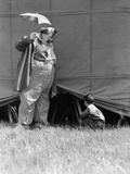 1930s Man Clown Catching Little Boy Peeking under Circus Big Top Tent Photographic Print