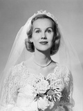 1950s Portrait Woman Bride Pearl Necklace White Gloves Holding Small Bouquet Photographic Print