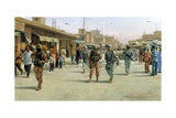 Troops Patrolling Market in Iraq Giclee Print