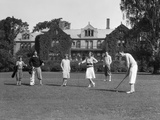 1920s Two Women and Four Men Playing Golf Photographic Print