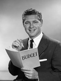 1950s-1960s Man in Business Suit Holding Pencil and Budget Book Photographic Print