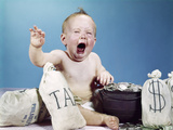 1960s Baby Crying Shouting Screaming with Bags of Money and Bag Labeled Tax Photographic Print