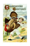 Thanksgiving Greetings Postcard with a Boy Carrying a Turkey Giclee Print