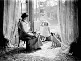 A Young Girl with Her Mother and Dog in England, Ca. 1900 Photographic Print