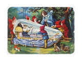 Illustration Depicting the Prince and the Seven Dwarfs with Snow White in Her Glass Coffin Giclee Print
