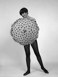 1960s Full-Length Portrait of Short Haired Brunette in Lacy Hose Covering Naked Torso Photographic Print