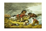 "Life on the Prairie: the Trappers Defense ""Fire Fight Fire"" after Arthur Fitzwilliam Tait Giclee Print"