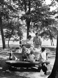1960s-1970s Family of Five at Table in Park under Trees Having Picnic Photographic Print
