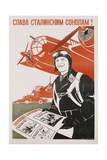 World War Ii-Era Soviet Poster Depicting a Pilot and Bombers Giclee Print