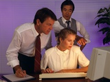 Business People Working Together at Desktop Computer Photographic Print