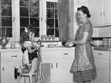1930s-1940s Mother and Daughter Washing Dishes Photographic Print