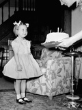 A Four Year Old Girl Looks on as Her Mother Presents the Birthday Cake, Ca. 1957 Photographic Print