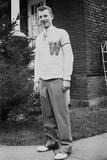 High School Boy Wearing His Varsity Sweater, Ca. 1945 Photographic Print
